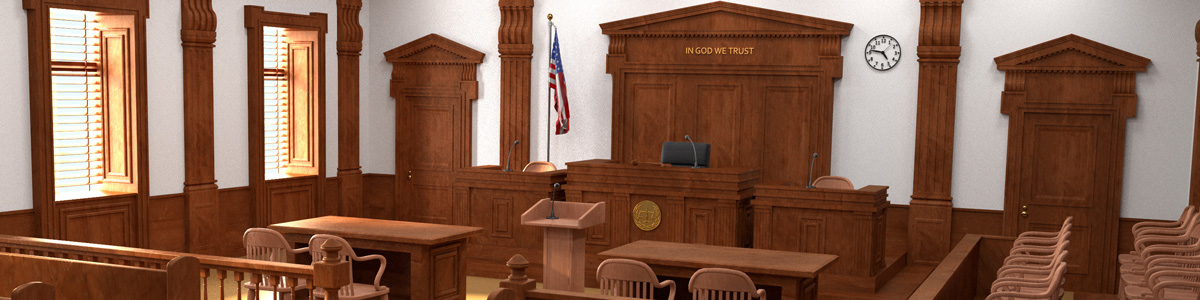 courtroom similar to one you would find in Lancaster SC